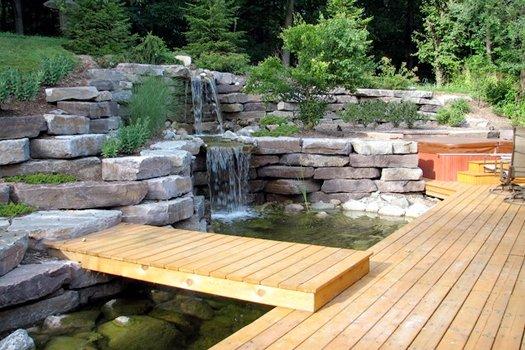 Настилки от дърво и камък за съвременната градина