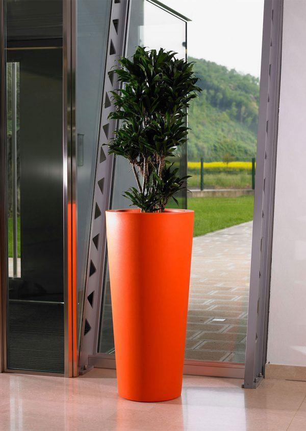 ILIE високи кръгли кашпи в оранжев цвят